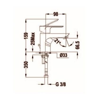 Baterie lavoar Teka CALVIA, 32.346.02.00, monocomanda, crom