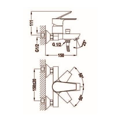 Baterie cada & dus Teka CALVIA, 32.121.02.00, monocomanda, crom