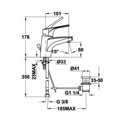 Baterie lavoar Teka MT PLUS, 46.346.02.00, monocomanda, crom