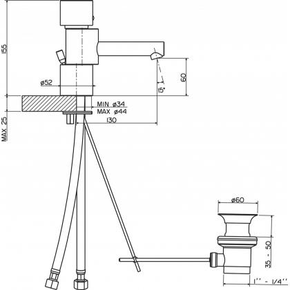 Baterie lavoar Pyramis ACCORDO, monocomanda