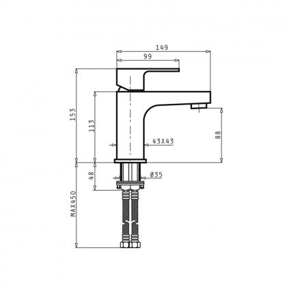 Baterie lavoar Pyramis AGITATO, monocomanda