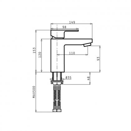 Baterie lavoar Pyramis AMOROSO, monocomanda