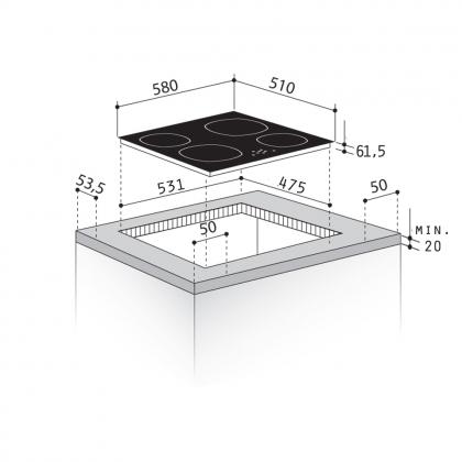 Plita incorporabila cu inductie Pyramis NEKKAR, 60 cm, Timer