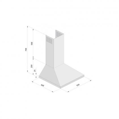 Hota semineu Pyramis Smartline Ivory SCH8665, 60 cm, retro, bej