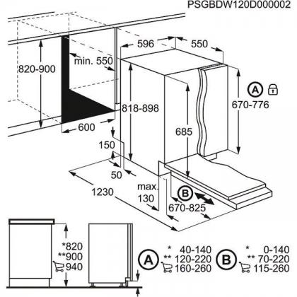 Masina de spalat vase complet incorporabila Electrolux ESL8820RA, 60 cm, 15 seturi, 7 programe, inverter
