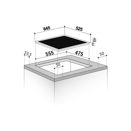 Plita incorporabila pe gaz Pyramis Ecoline 67AAZX, 64.5 cm, gratare fonta, wok