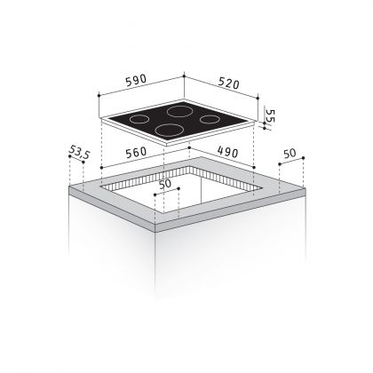 Plita incorporabila mixta Pyramis ECOLINE HO8240, 60 cm, vitroceramic si inductie