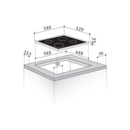 Plita incorporabila vitroceramica Pyramis ECOLINE HO8340, 60 cm, booster