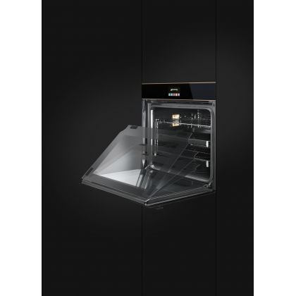 Cuptor incorporabil electric Smeg Eclipse Black Glass SFP6604NRE, pirolitic, estetica alama