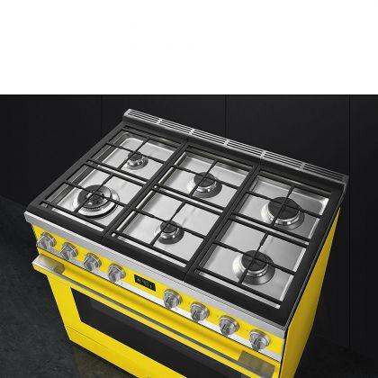 Masina de gatit Smeg Portofino CPF9GMYW, 90 cm, galbena, 6 arzatoare, 115 l cuptor