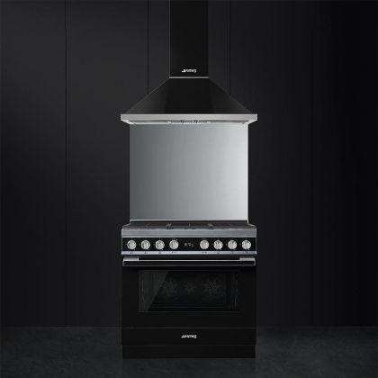 Masina de gatit Smeg Portofino CPF9GMBL, 90 cm, neagra, 6 arzatoare, 115 l cuptor