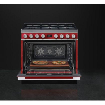 Masina de gatit Smeg Portofino CPF9GMR, 90 cm, rosie, 6 arzatoare, 115 l cuptor