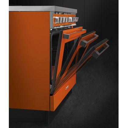 Masina de gatit Smeg Portofino CPF9GMOR, 90 cm, portocalie, 6 arzatoare, 115 l cuptor