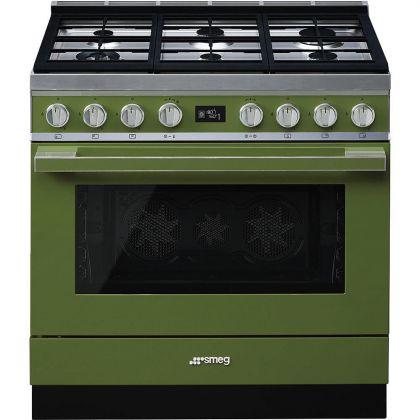 Masina de gatit Smeg Portofino CPF9GMOG, 90 cm, verde, 6 arzatoare, 115 l cuptor