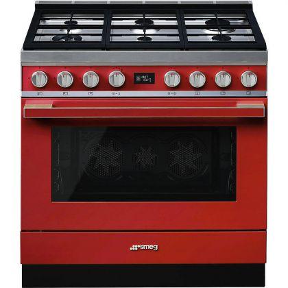 Masina de gatit Smeg Portofino CPF9GPR, 90 cm, rosie, 6 arzatoare, 115 l cuptor, pirolitic