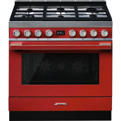 Masina de gatit mixta Smeg Portofino CPF9GPR, 90 cm, rosu, 6 arzatoare, pirolitic