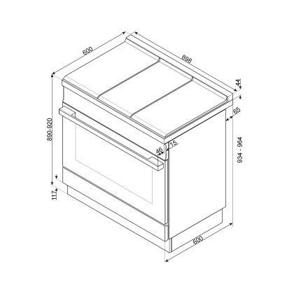 Masina de gatit Smeg Portofino CPF9GPBL, 90 cm, neagra, 6 arzatoare, 115 l cuptor, pirolitic