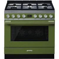 Masina de gatit Smeg Portofino CPF9GPOG, 90 cm, verde, 6 arzatoare, 115 l cuptor, pirolitic