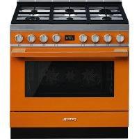 Masina de gatit Smeg Portofino CPF9GPOR, 90 cm, portocalie, 6 arzatoare, 115 l cuptor, pirolitic