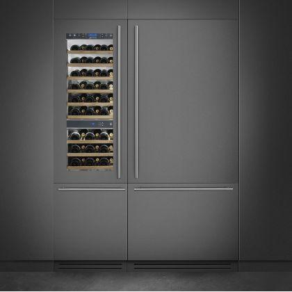 Racitor de vinuri incorporabil Smeg WI66LS, 60 cm, rafturi lemn, 54 sticle, 2 zone de racire