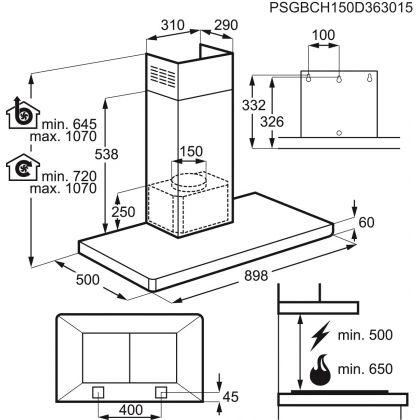 Hota semineu Electrolux EFB90460OX, 90 cm, inox