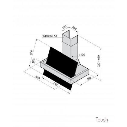 Hota decorativa de perete Pyramis Design Touch, 86 cm, inox si sticla