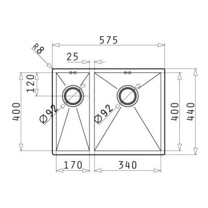 Chiuveta de bucatarie Pyramis Tetragon 1 1/2B ST LN, 57.5 cm, cuva stanga, inox periat