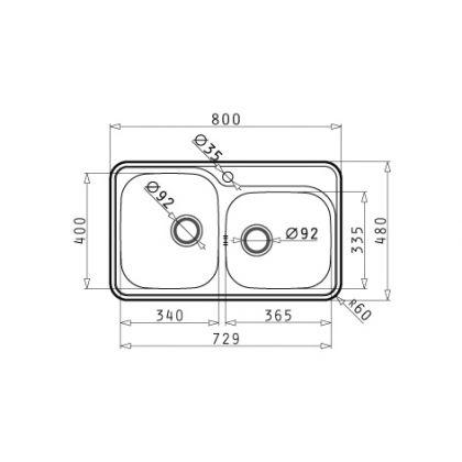 Chiuveta de bucatarie Pyramis Space Mini 2B SM, 80 cm, inox lucios