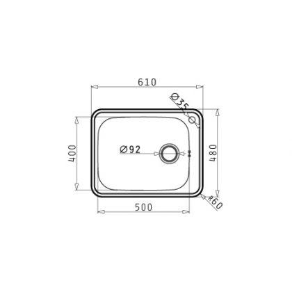 Chiuveta de bucatarie Pyramis Space Plus 1B SM, 61 cm, inox lucios
