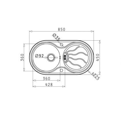 Chiuveta de bucatarie Pyramis SR Twig 1B 1D LN, 85 cm, inox texturat