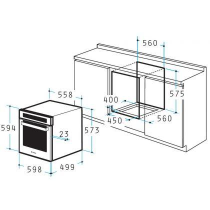 Cuptor incorporabil electric Pyramis 60IN 1130 TFT, 56 litri, 24 functii, inox si sticla