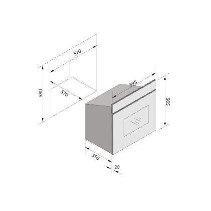 Cuptor incorporabil electric Pyramis 60IN 6082, 60 litri, 4 functii, inox si sticla