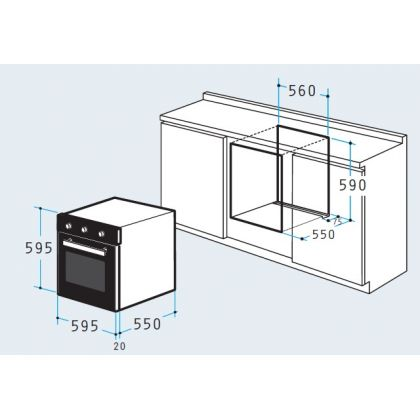 Cuptor incorporabil electric Pyramis 60IN 1007, 61 litri, 6 functii, negru