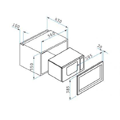 Cuptor incoporabil cu microunde Pyramis MWO 26, 23 litri, inox