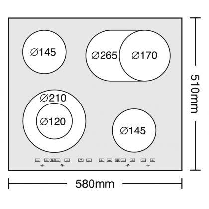 Plita incorporabila electrica Pyramis 58HL 632 Touch Control, sticla neagra