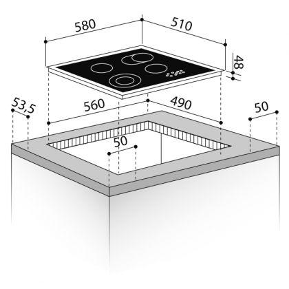 Plita incorporabila electrica Pyramis 58HL 436 Touch Control, neagra