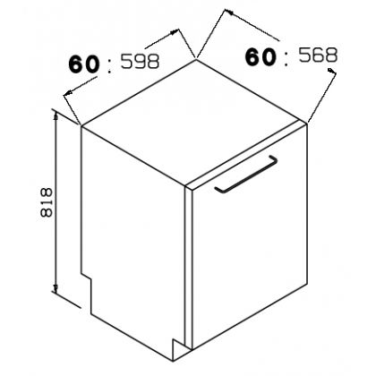 Masina de spalat vase complet incorporabila Pyramis DWA 60FI, 60 cm, 12 seturi
