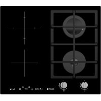 Plita incorporabila mixta Pyramis Gaz + Electric, 60cm, touch control, sticla neagra