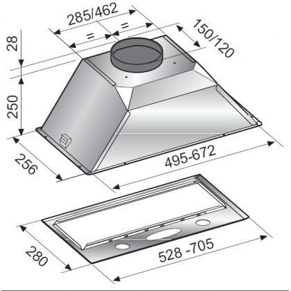 Hota incorporabila Pyramis Turbo Metalic Grey, 53 cm