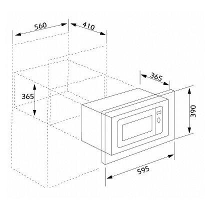 Cuptor incorporabil cu microunde Pyramis MS250, 23 litri, 60 cm, sticla neagra