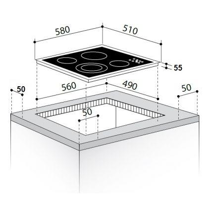 Plita incorporabila electrica Pyramis 58HL 533, 60 cm, touch control, sticla neagra