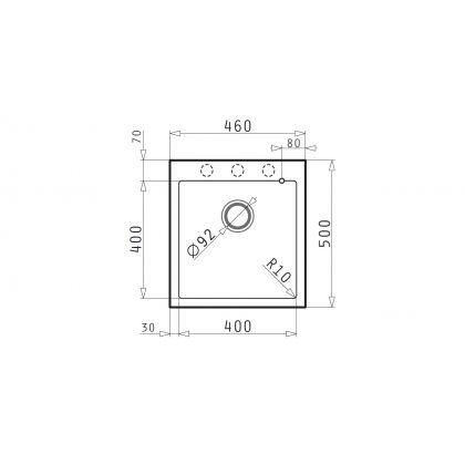 Chiuveta de bucatarie granit Pyramis ISTROS 46x50 1B 070043811, carbon
