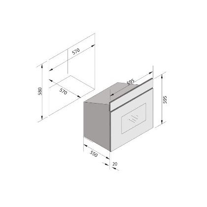 Cuptor incorporabil electric Pyramis 60IN 6131, 60 litri, Timer, sticla si inox