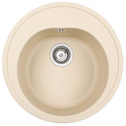 Chiuveta rotunda Teka Centroval 45 TG, Topasbeige, tegranit, 51 cm diametru
