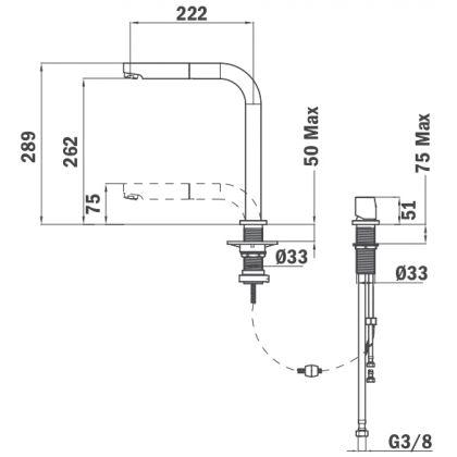 Baterie de bucatarie Teka AUK 983, inox, cap extractibil
