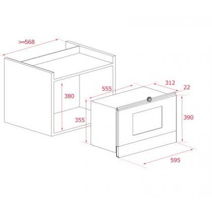 Cuptor cu microunde Teka ML 822 BIS L White, balamale stanga, 3 functii, 22 l