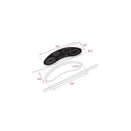 Plita incorporabila inductie Teka IRC 9430 KS, 90 cm, forma bumerang