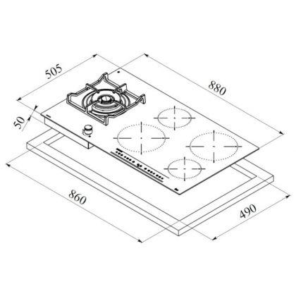 Plita incorporabila mixta Teka IG 940 1G AI AL DR CI, 90 cm, inductie si gaz