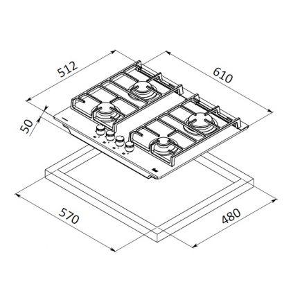Plita incorporabila vitroceramica pe gaz Teka CGW Lux 60 4G AI AL CI, 60 cm, gratare fonta