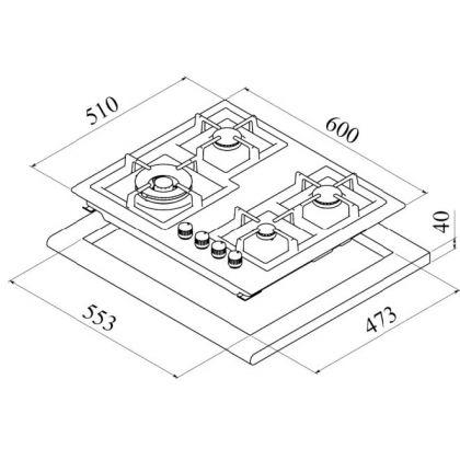 Plita incorporabila pe gaz Teka EFX 60 4G AI AL CI , 60 cm, gratare fonta